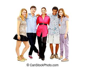 vrolijke , tiener, jonge jongens, en, meiden, staand, samen,...