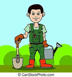 vrolijke , tuinman, staand, met, zijn, tuin, tool., schop, en, watering, can.