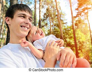 vrolijke , vader en zoon