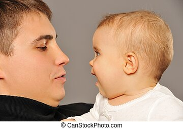 vrolijke , vader, met, zijn, baby