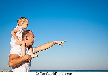 vrolijke , vader, spelend, kind