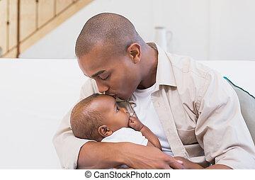 vrolijke , vader, uitgeven, tijd, met, bab