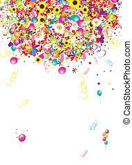 vrolijke , vakantie, gekke , achtergrond, met, ballons,...