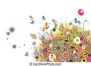 vrolijke , vakantie, gekke , kaart, met, ballons