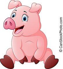 vrolijke , varken, spotprent, zittende
