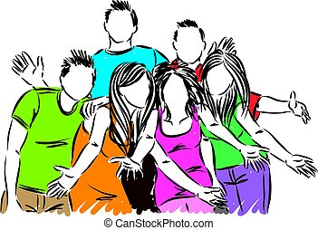 vrolijke , vector, groep, illustratie, vrienden