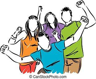 vrolijke , vector, vrienden, illustratie, mensen