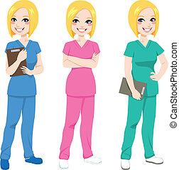 vrolijke , verpleegkundige, het poseren