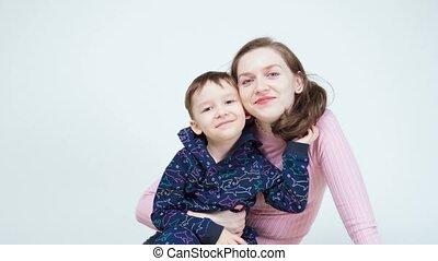 vrolijke , video, jongen, mamma, weinig; niet zo(veel), het ...