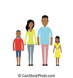 vrolijke , vier, gezin, amerikaan, twee mensen, afrikaan, ouders, kinderen