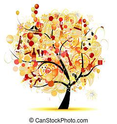 vrolijke , viering, gekke , boompje, met, vakantie, symbolen