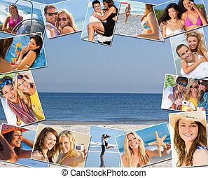 vrolijke , vrienden, &, stellen, vakantie, levensstijl, montage