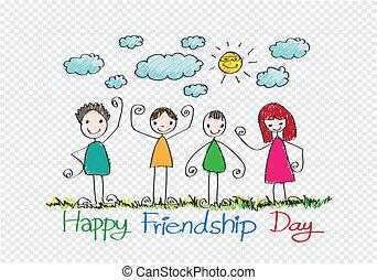 vrolijke , vriendschap, dag, en, beste vrienden, voor...