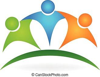vrolijke , vriendschap, mensen, logo