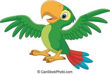 vrolijke , vrijstaand, papegaai, spotprent