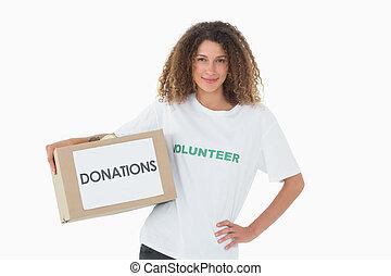 vrolijke , vrijwilliger, het houden een doos, van, schenkingen, met, geven heup door
