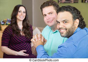 vrolijke , vrolijk, ouders, met, zwangere vrouw