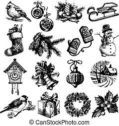 vrolijke , vrolijk, set., nieuw, kerstmis, schets, hand, getrokken, jaar