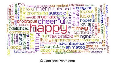 vrolijke , vrolijk, woord, wolk