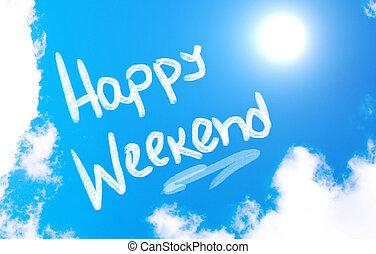 vrolijke , weekend, concept