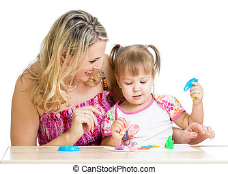 vrolijke , weinig; niet zo(veel), geitje, en, moeder, aan het zitten, en, spelend, met, kleurrijke, klei, speelbal