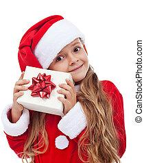 vrolijke , weinig; niet zo(veel), kerstmis, meisje, met, kado