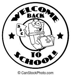 vrolijke , welkom, back, potlood, school