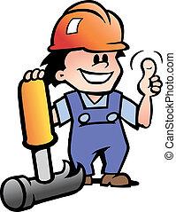 vrolijke , werktuigkundige, of, handyman