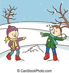 vrolijke , werpen, geitjes, spelend, snowbal