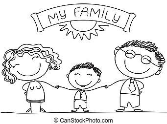 vrolijke , white., gezin, vector, zoon, ouders