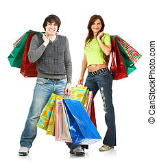 vrolijke , winkelende mensen