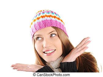 vrolijke , winter, mooi, meisje