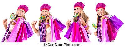 vrolijke , winter, shoppen