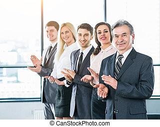 vrolijke , zakelijk, groep, applauding, de, company's, succes