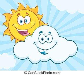 vrolijke , zomer, zon, en, het glimlachen, wolk