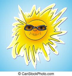 vrolijke , zomer, zon, met, zonnebrillen