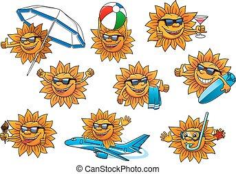vrolijke , zomer, zon, spotprent, mascotte, set