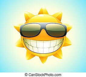 vrolijke , zomer, zon