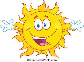 vrolijke , zon, met, verwelkoming, openen armen