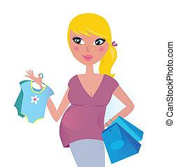 vrolijke , zwangere , moeder, op, shoppen , voor, baby jongen
