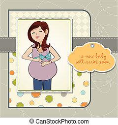 vrolijke , zwangere vrouw