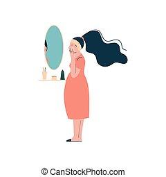 vrouw, aan het dienen, haar, zwangere , gezicht, moederlijk, illustratie, vector, brunette, zwangerschap, room, gezondheid, vrolijke , care, aantrekkelijk