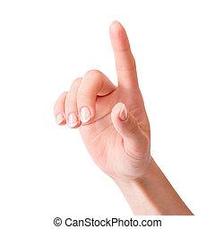 vrouw, aandoenlijk, scherm, feitelijk, hand