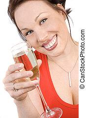 vrouw, aantrekkelijk, champagne