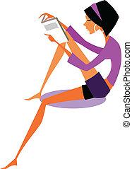 vrouw, aanzicht, boek, vasthouden, bovenkant