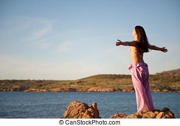 vrouw, aanzicht, zee, relaxen, rots