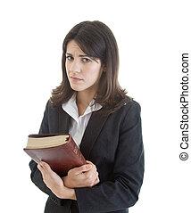 vrouw, achtergrond, vrijstaand, verdrietige , bijbel, vasthouden, witte