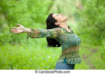 vrouw, ademen in, natuur