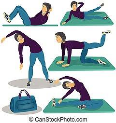 vrouw, aerobics