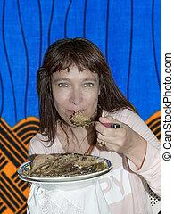 vrouw, afrikaan, restaurant